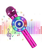 FISHOAKY Karaoke Microphone [Updated], Kids Wireless Bluetooth Karaoke Machine Portable Mic Player Speaker with LED for Christmas Birthday Home Party KTV Outdoor