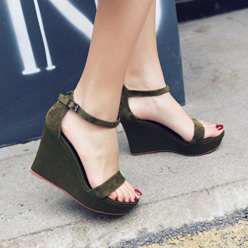 verde pendiente Transpirable Joker tacón elegante zapatos y AJUNR alto cm Moda cuatro hebillas tacones Treinta oscuro mujer Sandalias de 10 37 de wBAxPq8x