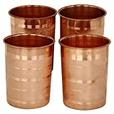 JaipurCrafts Set Of 4 Pure Copper Luxury Glass Tumbler Cup 250 Ml Each - Serving & Drinking Water Home Hotel Restaurant Good Health Benefit Yoga Ayurveda Healing