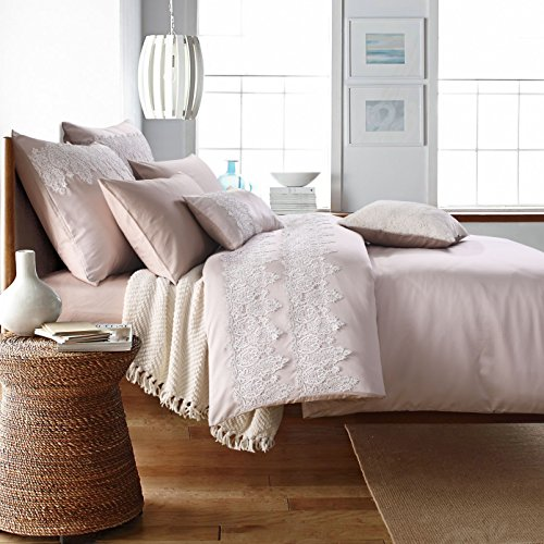 6-Piece Elegant Washed Silk Delicate 3D Embroidered Lace Decor Duvet Cover Set Cotton Allergy Free Romantic Wedding Bedding (Embroidered Duvet)