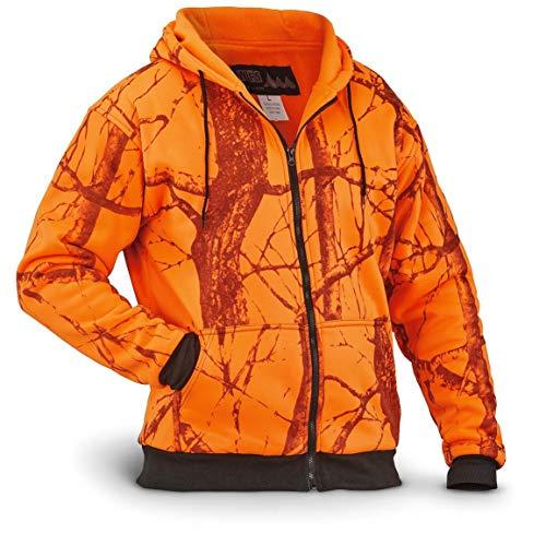 WFS Men's Thermal Lined Fleece Blaze Orange Camo Hooded Sweatshirt, Blaze Camo, L