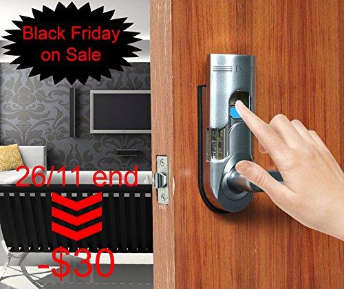 Assa Abloy Digi Electronic Biometric Fingerprint + Keypad Password Door Lock Set Intersected Chrome 6600-86 (Right Hand Door) (Password Door Handle compare prices)