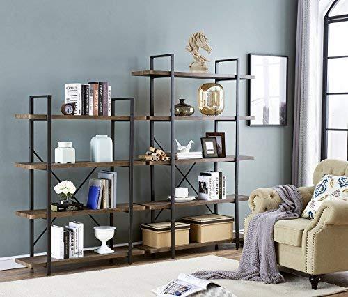 O&K FURNITURE 4-Shelf Vintage Industrial Bookcase, Display Rack Stand Storage Shelving Unit, Gray-Brown by O&K FURNITURE (Image #3)