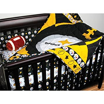 NFL Pittsburgh Steelers Crib Bedding   4pc Football Baby Quilt Bed In Bag