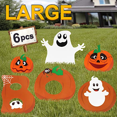 Pawliss Halloween Decorations Outdoor, Extra Large 6ct Boo Pumpkins Ghost Corrugate Yard Signs with Stake, Family Friendly Trick or Treat Party Plastic