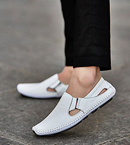 Zapatos Ligeros Blanco en Comodidad Durable LIEBE721 Zapatos Hombres del Formales de Plano Planos Ocio los de Resbalón Cuero dwTx80