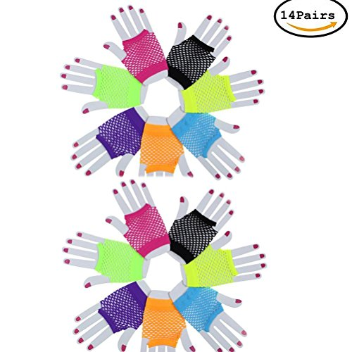 14 Pairs Stretchy Fishnet Fingerless Wrist Gloves Short Wrist Length Mesh Neon Gloves Women's 80s Accessories For Parties Costumes,Assorted Brighted Color by (Adult 80s Mesh)