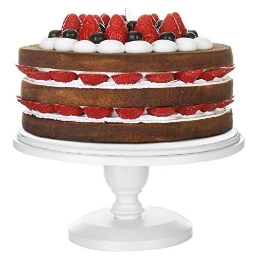 MyGift 10-inch Classic White Round Cake Stand Pedestal
