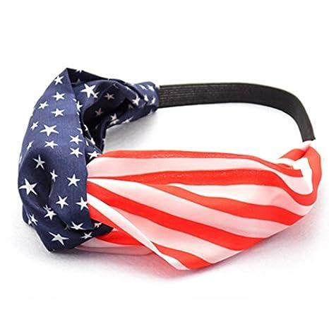 56896bf265d1 Amazon.com   AKOAK New American Flag Headband USA 4th of July Head wrap  Fashion Elastic Hair Bands Bandana Turban Hair Accessories   Beauty