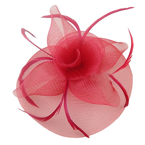 JoyVany Women Fascinator Hat with Headband Tea Party Derby Wedding Hair Clip Hat Red by JoyVany