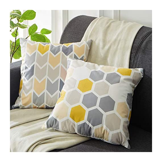 Top Finel Square Decorative Throw Pillow Covers Soft Microfiber Outdoor Cushion Covers 18 x 18 for Couch Sofa Bedroom, Set of 6, Grey & Yellow - SUPER PLUSH MATERIAL & SIZE: Made of ultra soft microfiber, comfortable to touch and lay on. 18 X 18 Inch per pack, included 6 packs per set, NO PILLOW INSERTS. WORKMANSHIP: Delicate hidden zipper closure was designed to meet an elegant look. Tight zigzag over-lock stitches to avoid fraying and ripping. NO PECULIAR SMELL: Because of using environmental and high quality ultra soft fabric,our throw pillow cases are the perfect choice for those suffering from asthma, allergen, and other respiratory issues. - patio, outdoor-throw-pillows, outdoor-decor - 51yr8M zLeL. SS570  -