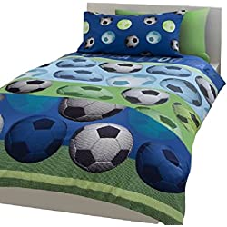 SOCCER FOOTBALL BLUE WHITE FULL BED COMFORTER COVER