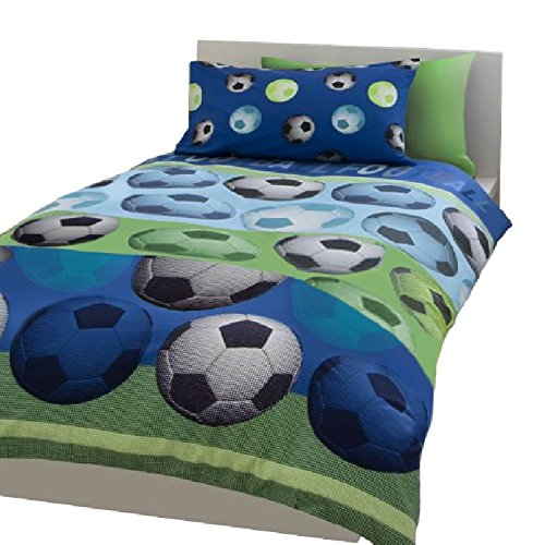 SOCCER FOOTBALL BLUE WHITE FULL BED COMFORTER COVER