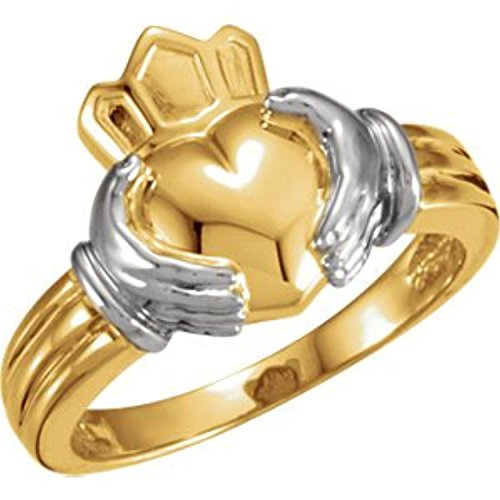 14K White Yellow Gold Claddagh Ring, Size: 6