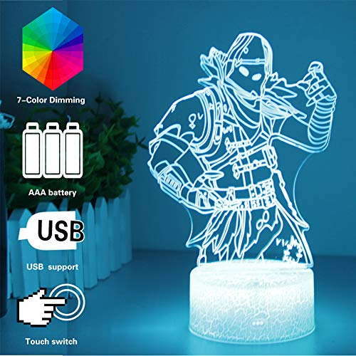 LIGHT ME UP 3D Lamp LED Illusion Night Lights RGB Color Changing with USB or Batteries Powered,Kids Desk Table Lamps for Fortress Home Bedroom Decor Creative Gift Birthday Gifts for - 3 Fortress Light
