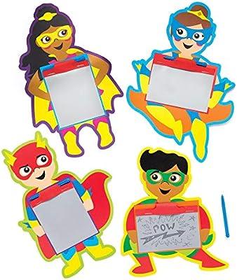Baker Ross- Pizarras mágicas de superhéroes (Pack de 8) Tableros ...
