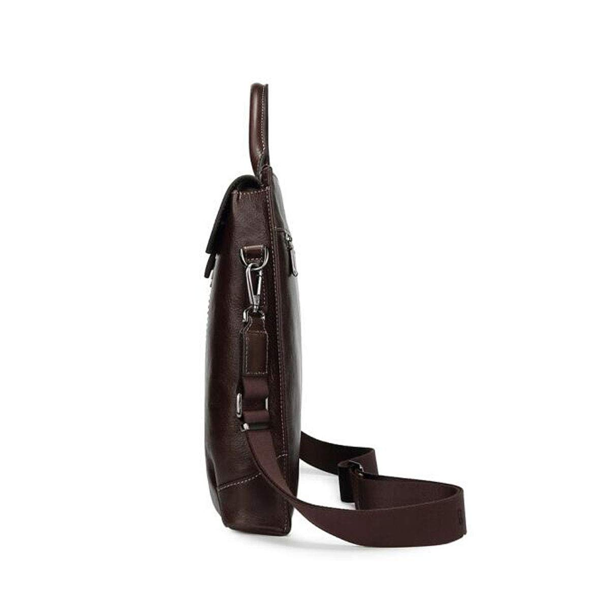 Large Capacity Computer Bag 8haowenju Briefcase Business Casual Leather Handbag Mens Trend Retro Shoulder Bag Color : Brown Dark Brown Size: 29.56.533cm