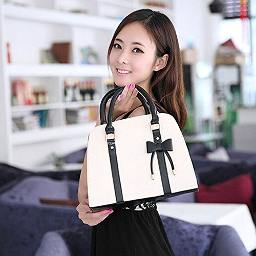 La Las Color Del De Corea De Moda Deley Beige De Bowknot Bolso De Asas De Del Mujeres Estilo Bolso Del 54R8wq