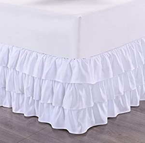 Tebery White Microfiber Multi-Ruffle Bed Skirt Elastic Bed Wrap Easy Fit Dust Ruffle 15-Inch Drop Wrinkle and Fade Resistant (Queen)