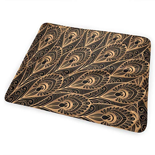 Pad Gold Peacock Feather - Jadetian Gold Black Peacock Feathers Changing Pad Portable Waterproof Diaper Changing Pad Best Infant Diaper Change 25.5â€x31.5†for Home Travel Bed Play Stroller Crib Car