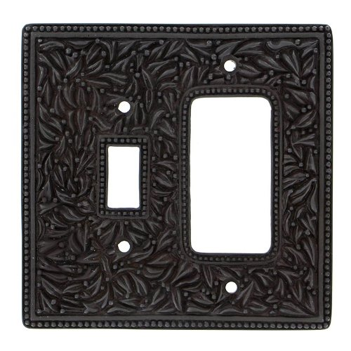 Vicenza Designs WPJ7014 San Michele Wall Plate with Jumbo Toggle and Dimmer Opening, Oil-Rubbed Bronze by Vicenza Designs