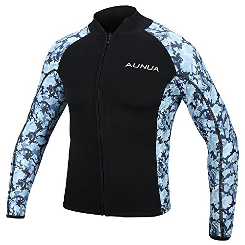Aunua Mens 2mm Neoprene Wetsuit Camouflage Jacket Long Sleeve Surfing Tops(8021 OceanCamouflage S)