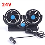 XY-BAI Desk fans Car Fans 360 Rotating Free Adjustment Dual Head Car Auto Cooling Air Fan Powerful Quiet Dashboard Summer Cooling Air Circulator Low Noise (Color : 24V)