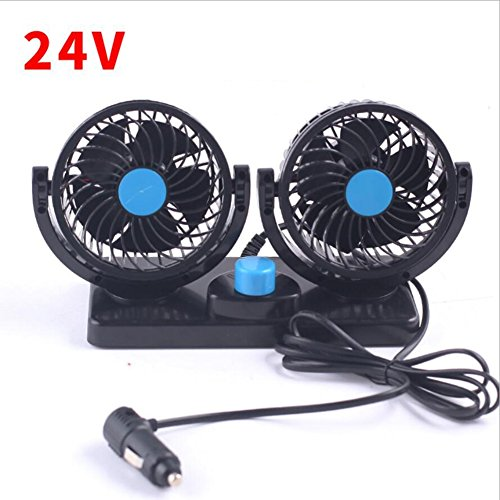 XY-BAI Desk fans Car Fans 360 Rotating Free Adjustment Dual Head Car Auto Cooling Air Fan Powerful Quiet Dashboard Summer Cooling Air Circulator Low Noise (Color : 24V) by XY-BAI