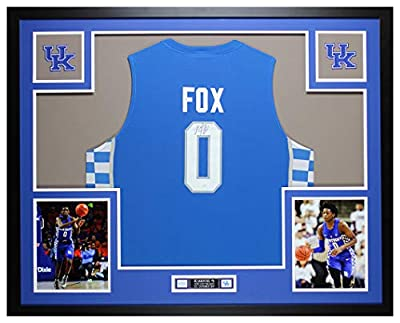 De'Aaron Fox Autographed Blue Kentucky Wildcats Jersey - Beautifully Matted and Framed - Hand Signed By De'Aaron Fox and Certified Authentic by JSA - Includes Certificate of Authenticity