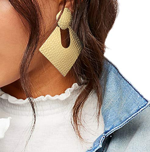 Ms.Mara Hammered Textured Gold Geometric Square Statement Dangle Stud Earring (Gold)