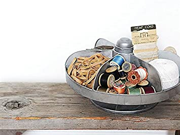 round metal rotating vintage hardware bin lazy susan style tray zinc finish country home d