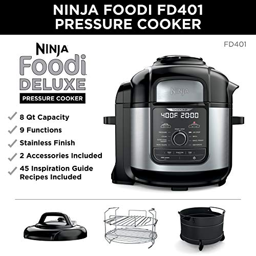 Ninja FD401 Foodi 8-qt. 9-in-1 Deluxe XL Cooker & Air Fryer-Stainless Steel Pressure Cooker