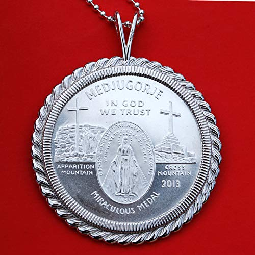 2013 Medjugorje Apparitions Of Mary 1 oz .999 Pure Silver Queen of Peace Miraculous BU Unc Medal Coin Solid 925 Sterling Silver Necklace NEW