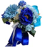Geoffroy Christian Royal Blue Handmade Wedding Bouquets Big Flowers Bridal Bouquets Home Office Decoration (Royal blue)
