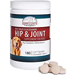 Best Value Glucosamine for Dogs Hip and Joint Supplement with Chondroitin MSM and Vitamin C, 180 Chewable Liver-flavored Tablets