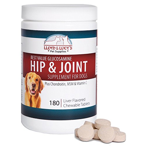 Best Value Glucosamine for Dogs Hip and Joint Supplement with Chondroitin MSM and Vitamin C, 180 Chewable Liver-Flavored Tablets (180 Tablets Dogs)
