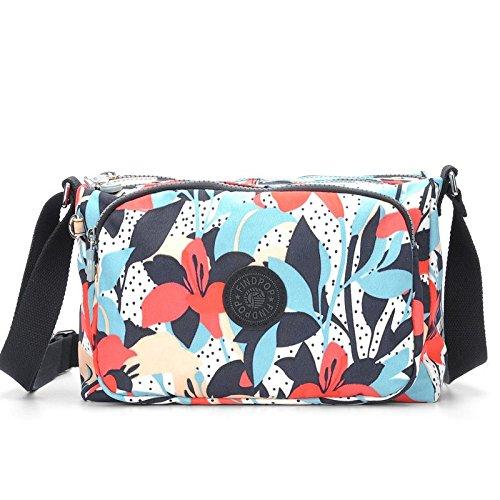 Lady bags Bolsas de Lona para Mujer con Estampado de Bandolera, Bolsa de Hombro de Nailon Impermeable para Mujer, 28 x 19 x 14 cm, Color Rojo, Azul y Lirio