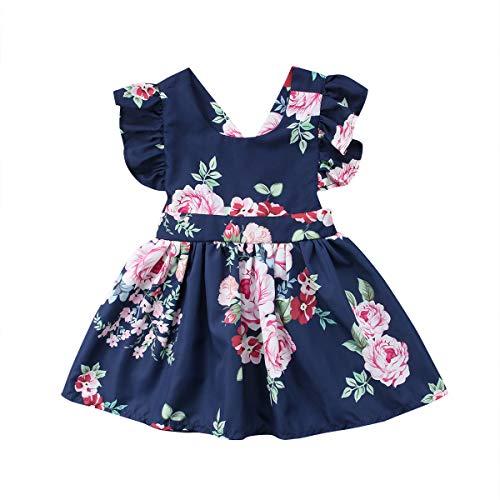 - Toddler Kids Baby Girls Flower Ruffle Dress Summer Party Backless Floral Sundress Beachwear Overall Skirt Clothes Outfits (2-3 Years, Navy Blue Flower Ruffle Dress)