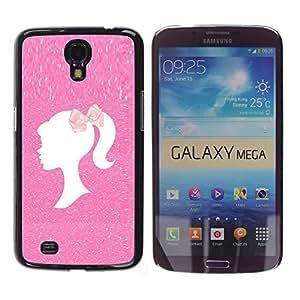 Caucho caso de Shell duro de la cubierta de accesorios de protección BY RAYDREAMMM - Samsung Galaxy Mega 6.3 I9200 SGH-i527 - Hairdresser Pink Glitter White Clean