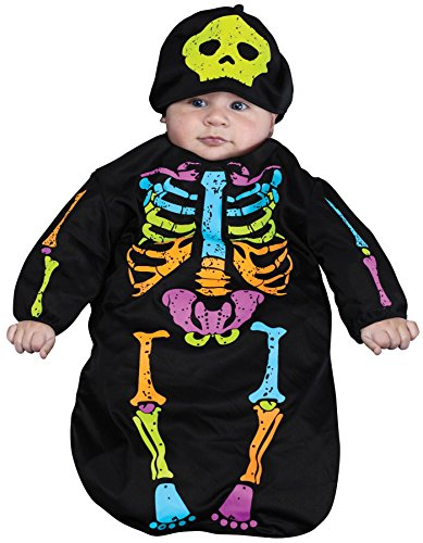 Clown Buntings Newborn Costumes (UHC Skelebaby Skeleton Outfit Bunting Child Fancy Dress Halloween Costume, OS (0-9M))