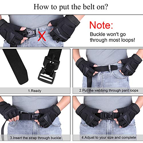 Tactical Belt with Magnetic Quick-Release Buckle Military Style Nylon Webbing Riggers Belt for Men by WHIPPY Black Small