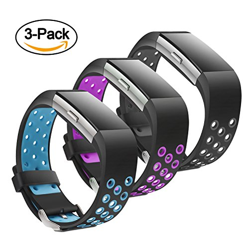 Jobese Compatible Fitbit Charge 2 Bands, (3 Pack) Two-Tone Soft Breathable Bands Compatible Fitbit Charge 2 Silicone Accessories Replacement Wristbands Women Men