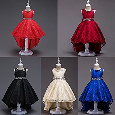 IWEMEK Girls Vintage Embroidered Rhinestone Wedding Pageant Dress Hi-Low Lace Bridesmaid Flower Dance Ball Party Maxi Gown