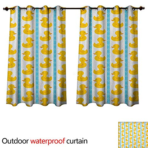 Kline Pattern Sherry (Anshesix Rubber Duck Outdoor Ultraviolet Protective Curtains Yellow Duckies with Blue Stripes and Small Circles Baby Nursery Play Toys Pattern W108 x L72(274cm x 183cm))