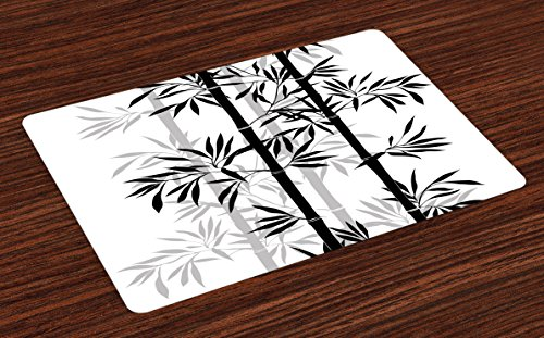 Ambesonne Tree of Life Place Mats Set of 4, Silhouette of Spiritual Bamboo Tree Leaves Japanese Zen Feng Shui Boho Image, Washable Fabric Placemats for Dining Room Kitchen Table Decor, Black White