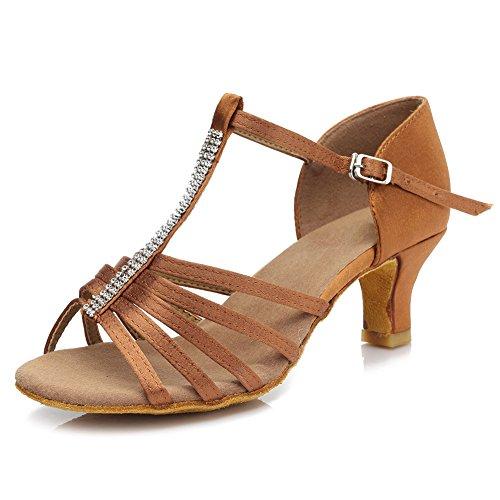 HROYL Zapatos de baile/Zapatos latinos de satín mujeres ES7-F27 5CM Marrón