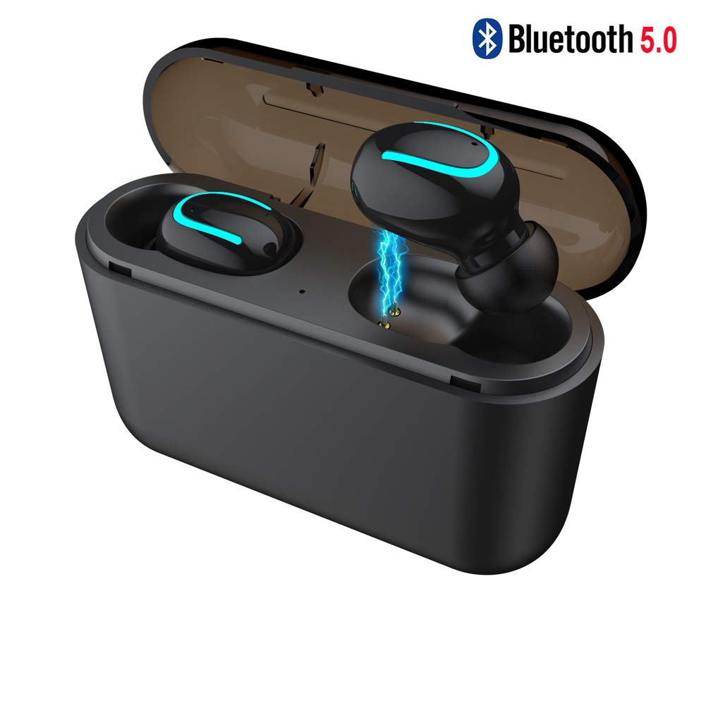 XIANGXING Bluetooth 5.0 TWS True Wireless Earbuds in-Ear Earphone 120H Playtime HiFi Stereo Sound IPX5 Waterproof Headphones for Running Sport with Built-in Mic Portable with 2600mah Charging Case