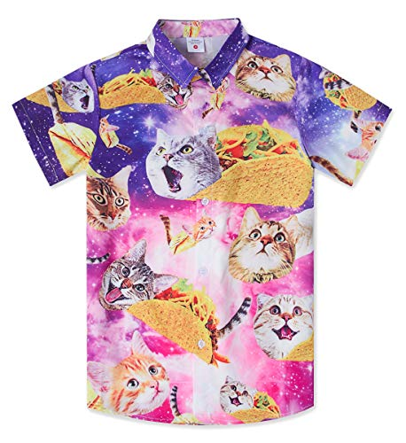 Kids Boys Novelty Button Down Hawaiian Shirts Purple Galaxy Funny 3D Printed Taco Pizza Cat Tees Aloha Holiday Short Sleeve Luau Tops Awesomer Designer Santa Tropical Dress for 7-8 Yrs -
