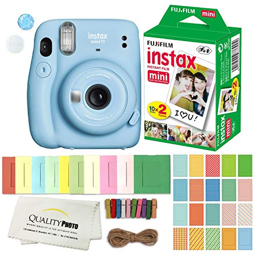 FUJIFILM INSTAX Mini 11 Instant Film Camera Plus Instax Film and Accessories Stickers, Hanging Frames and Microfiber Cloth (Sky Blue)