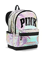 Silver Pink Full Sequined Zipper School Bag
